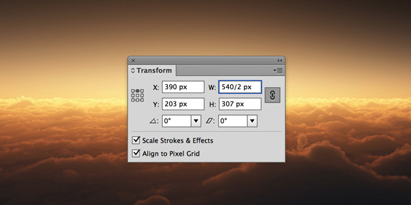 Adobe Illustrator Transform Window